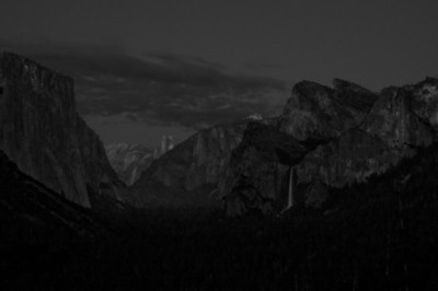 Yosemite National Park, Tunnel View at night in Gray Scale.