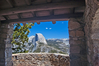 Looking at Half Dome from inside the Geology hut on Glacier Point, Yosemite National Park.