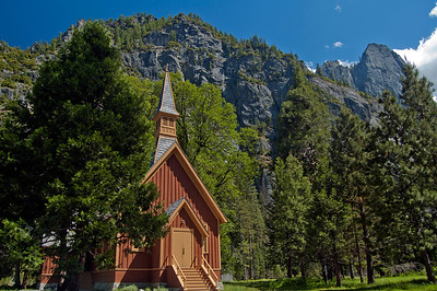Yosemite National Park, chapel with Cathedral Spires in background