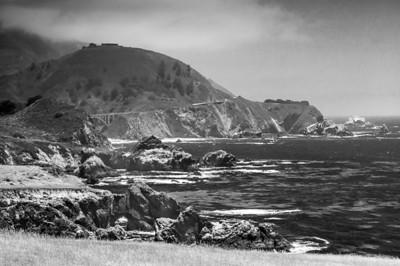 Big Sur coastline with Pacific Coast highway in background.
